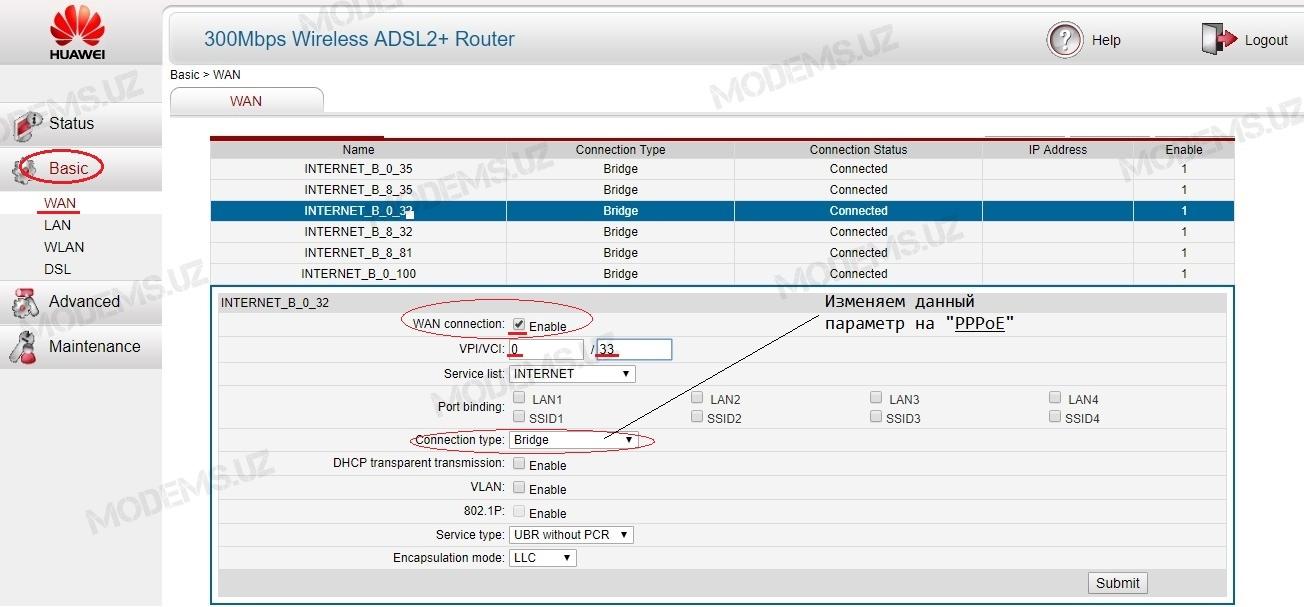 Инструкция по настройке Huawei HG531 V1 | modems uz